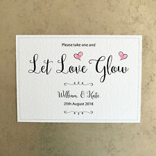 Let Love Glow - Personalised Glow Sticks Wedding Sign - 260gsm Hammer White Card