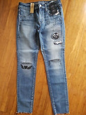 NEW American Eagle Outfitters Women Denim Jeans Distressed Embroided US 8 (AU12)