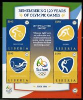 LIBERIA 2016 RIO OLYMPICS REMEMBERING 120 YEARS OF OLYMPIC GAMES SHEET II