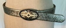 "Ladies Silver Geniune Leather 1 1/4"" Belt With Snap Off Buckle Medium NEW"