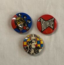 Vintage David Bowie Music Pins Buttons Lot of 3 Used 1980's
