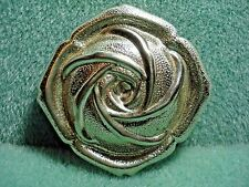 Vintage Silver Plated Rose Flower Scarf Clip Ring Excellent Condition.