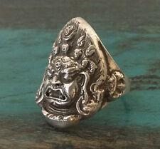 Buddha: Sehr feiner Mahakala RING 925er Silber aus NEPAL