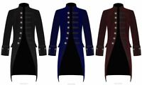 Mens Steampunk VTG Tailcoat Jacket Velvet Gothic Victorian Frock Coat(All Sizes)