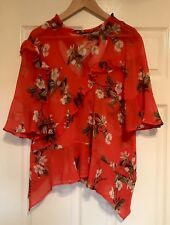 Red Floral Sheer Top, Size 14
