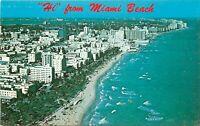 Chrome FL Postcard I468 Hi from Miami Beach Birds Eye View Ocean Waves Hotels