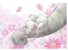 New Wild Rose Studio Clear cling rubber stamp BELLA SLEEPING Baby Elephant Mama