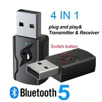 4 nel 1 USB Bluetooth 5.0 Trasmettitore Senza Fili Ricevitore Adattatore Au V6A9