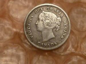 1883-H Canada Silver 5 Cents Key Date Only 600,000 Minted Higher Grade #2