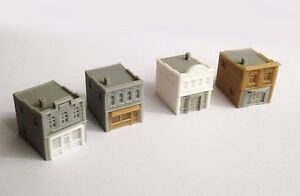 Outland Models Train Railway Shop / Store Building x4 (Style B) Z Scale 1:220