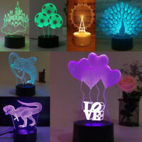 1pc 3D Illusion Lamp RGB LED Night Light Acrylic Panel for Kids Cartoon Gifts PM