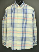Tommy Bahama Men's Size L Tan Navy Plaid Long Sleeve Button Down Shirt EC