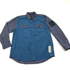 NEW VINTAGE Bugle Boy Button Up Shirt Mens L Large Adult Lake Blue Long Sleeve