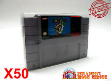 50x SUPER NINTENDO SNES CARTRIDGE - CLEAR PROTECTIVE GAME BOX SLEEVE CASE