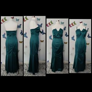Coast green satin ball gown dress UK 14 detachable straps special occasions