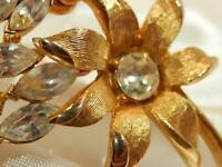 Vintage 1960's Navette Gold Tone Rhinestone Flower Brooch 39A9