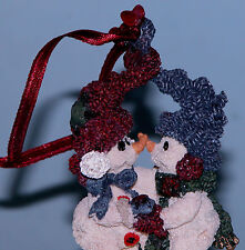 "Boyds Bears ornament ""Mistletoe & Holly"" #25900 snowman lovers 1997 Christmas"