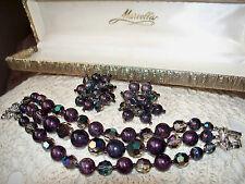 Vintage Purple & AB Bead Bracelet & Earring Set Signed Marvella