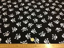 Poly cotton Fabric Dress Black with White Skulls Pirate Gothic 112 cm
