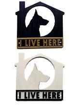 German Shepherd I Live Here 3D Plaque - House Garden Gate Door Sign