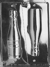 """7"""" Tall 3D Chocolate CHAMPAGNE BOTTLE Party Mould Set - 2 in 1 wine bottle Mold"""