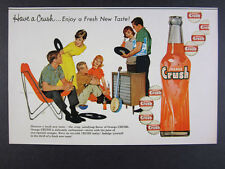 1960 Orange Crush Soda teens listening to music bottle art vintage print Ad
