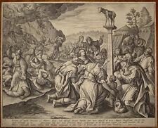 stampa antica old print 1587 adriaen collaert de vos galle dieci comandamenti