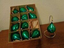 Vintage German Mercury Glass Green Teardrop Christmas Ornament Box Of 12