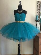 BETSEY JOHNSON Stunning Strapless Tulle Homecoming PROM Dress Green Gold Sz: 2