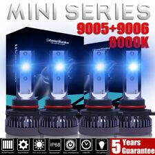 4x Mini 9005+9006 Ice Blue 8000K LED Headlight Bulbs 3200W 520000LM Hi-Low Beam