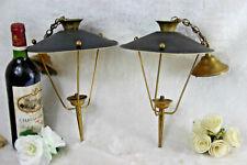 PAIR mid century Maison Arlus France 1960 pendant lantern lamps metal brass