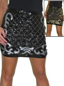 ICE Lined Stretch Sequin All Over Party Mini Skirt 8-14