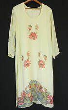 Vtg Lounge Dress Silk Chiffon Hand Painting trim 3/4 Sleeve Maxi Size L/XL