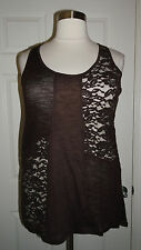 CUTE MAURICES WOMEN'S PLUS SIZE BROWN LACE SLEEVELESS KNIT TOP Sz 1 1X