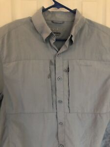 Simms Guide Series Long Sleeve Shirt Large Dry COR3 Fly Fish Light Blue Men's