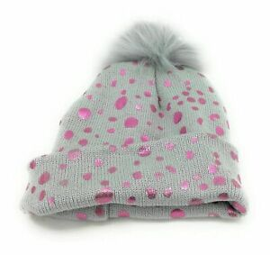 Ava Oliva Girl's Gray and Pink Beanie with Gloves Size 0-12 Months Winter Casual