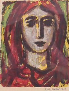 Boris Deutsch (Russian 1892-1978) Serigraph, Portrait woman with red hair 1946