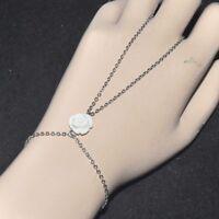 Chaîne de main bracelet bague original acier inoxydable fleur rose blanche bijou