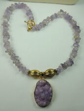 Amethyst Necklace with Lilac Druzy Stylish Handcrafted Jewelry
