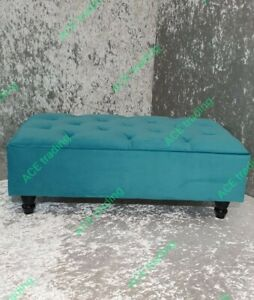 Large Ottoman Chesterfield Footstool/Coffee Table, Teal, Plush  Velvet