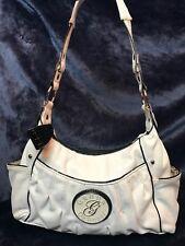 Genna De Rossi Faux white leather Shoulder Bag / Hand bag w/ zipper closure