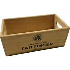 Wooden Storage Box Crate   Taittinger Champagne   Vintage Style Collectable