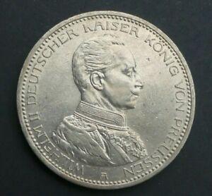 Preussen 5 Mark 1913 A Wilhelm II. im Uniform Silber  J 114 Kaiserreich