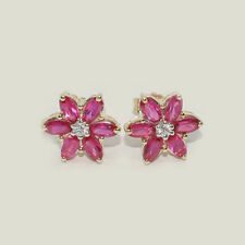 Marquise Ruby 10k Solid Yellow Gold Stud Earrings