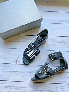 £500 Genuine Alexander McQueen Shoes, Black Leather Gladiator Sandals 4 UK 37 EU