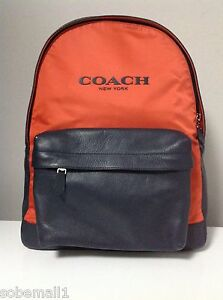 Coach Unisex Campus Nylon and Leather Backpack in Coral/Navy F71674