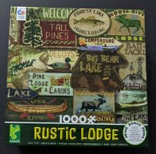 New Ceaco 1000 Piece Puzzle RUSTIC LODGE Cabins Lake Fishing Canoe Campground