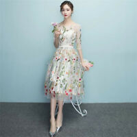 Flowers Tulle Lace Fabric Floral Craft Embroidery Wedding Dress Trim Sewing