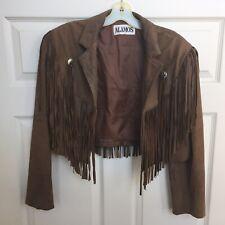 Vtg ALAMOS Bolero Style Cropped Brown Leather Fringed Jacket Western Flair, sz L