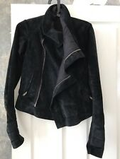 Rick Owens designer black suede leather jacket - UK women's size 8/10